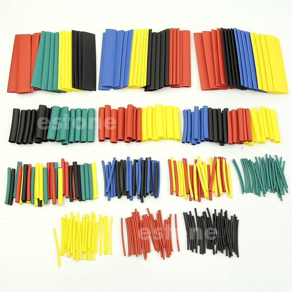 328Pcs 8 Sizes 5 Colors Assorted Heat Shrink Tube Tubing Wrap Sleeve