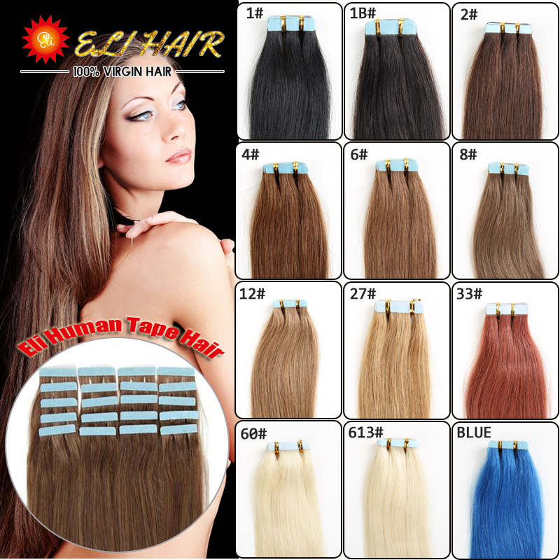 16''18''20''22''24'' 30-50g Skin Weft Tape Hair Extension Remy Human Hair PU Skin Weft Blonde Color 60# 613# Invisible On Head(China (Mainland))