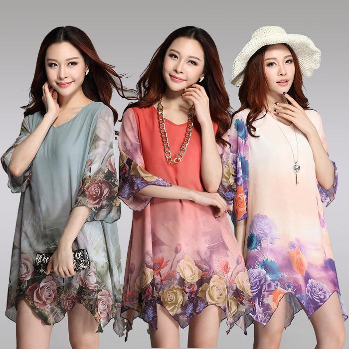new 2014 women summer casual korean boho flowers floral print half sleeve big large size XXL XXXL short beach tunic dress CL091