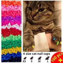 100pcs / lot Cat Nail Caps Soft  Paw Nail Protector with free 5x Adhesive Glue + 5x Applicator  XS S M L(China (Mainland))