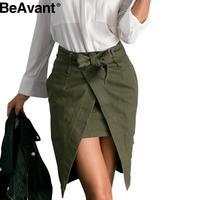BeAvant Autumn retro army green pencil skirts womens Open split zipper wrap skirt Casual short pocket sashes high waist skirt