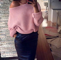 7 colours woman off shoulder sweater 2016 autumn winter casual knitted slash neck ladies pullovers pull