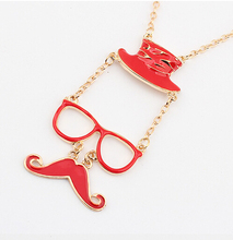 Special Hat Glasses Beard Necklace long Clavicle Chain For Women Popular gold Chain Necklace For Banquet Brilliang Jewelry(China (Mainland))