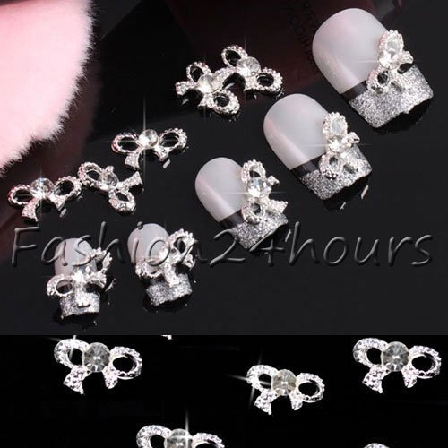 Fashion 20pcs 3D Bow Tie Crystal Rhinestone Silver Alloy Nail Art Decoration Glitters DIY