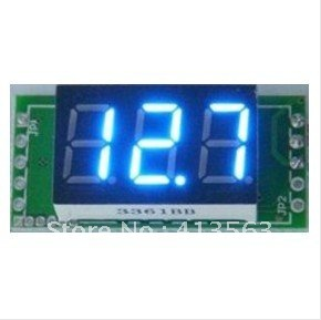 1pcs/lot DC Mini Digital Voltmeter DC 0-100V blue LED Slim Digital Panel Meter with Ear Car Motorcycle Battery Monitor #00006(China (Mainland))