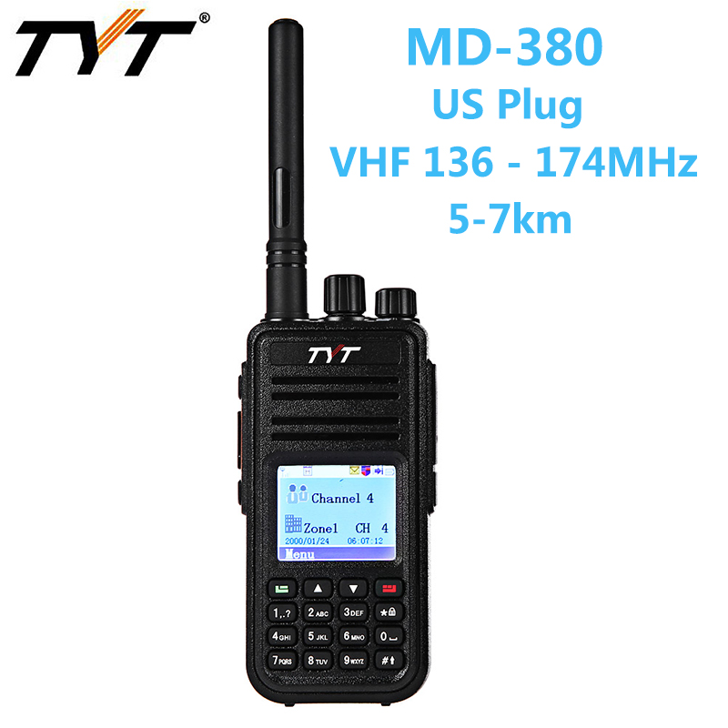 TYT MD - 380 Car Mobile Radio 1000 Channels VHF Portable Walkie Talkie Digital Transceiver with Colorful Display US PLUG