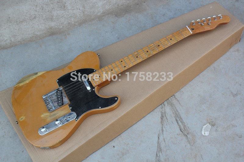 . Free Shipping !! Top Quality F Telecaster Nice Maple Neck Electric Guitar Black Pick Guard Hot Guitar In Stock(China (Mainland))