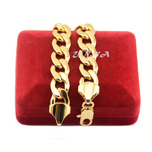 12mm Men's Unisex 18K Yellow Solid Gold Filled Curb Bracelet Chunky Chains Accessories(China (Mainland))