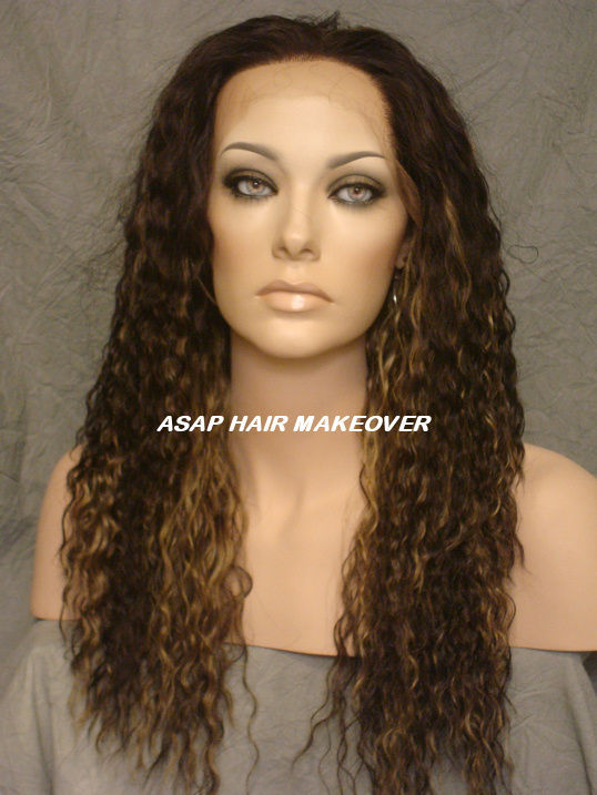 "Heat-Safe Water Wavy Texture Dark Brown/Blonde High Quality Synthetic Lace Front Wigs 12""~30"" Synthetic Lace Front Wigs(China (Mainland))"