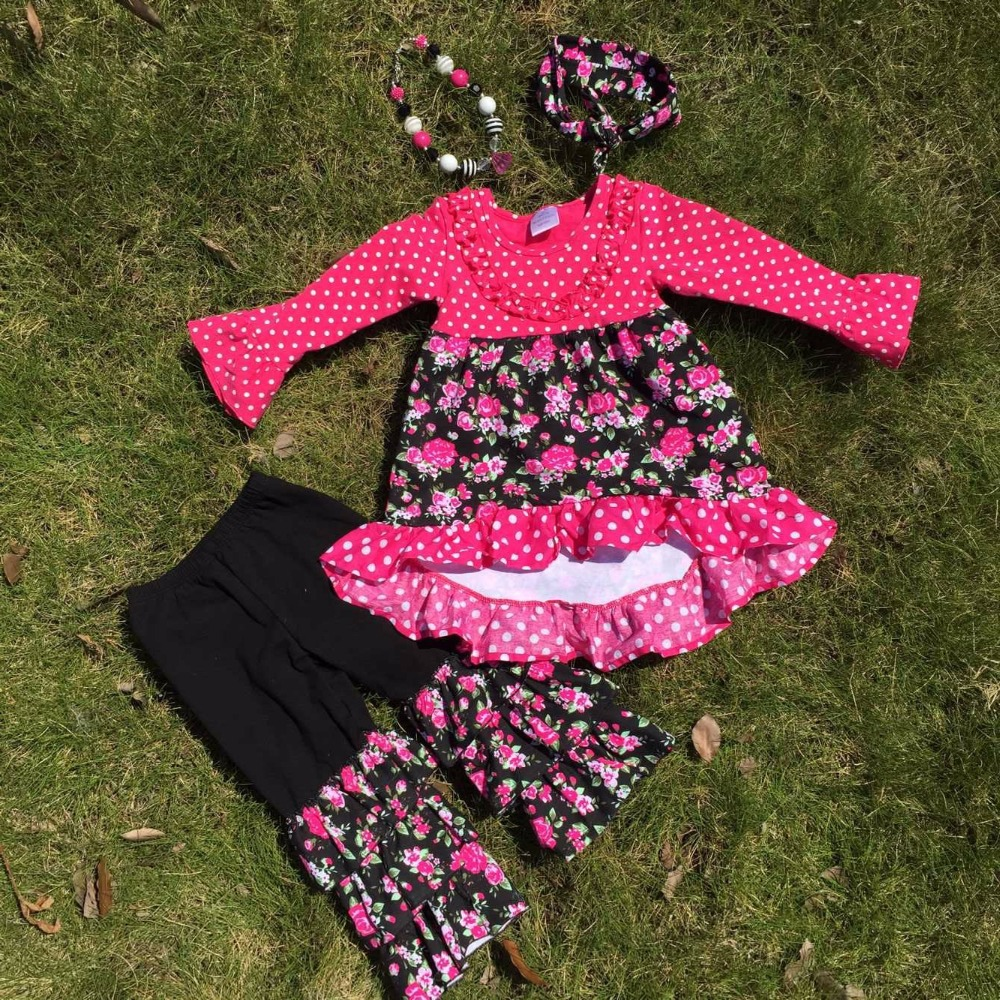 Full stock girls flower fot OUTFITS ruffle  pant sets girls  boutique clothes kids sets with matching accessory(China (Mainland))