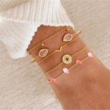 4pcs/Set Fashion Bohemia Leaf Knot compass Hand Cuff Link Chain Charm Bracelet Bangle for Women Gold Bracelets Femme Jewelry(China)