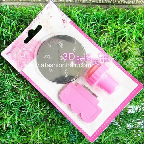 Free shipping  2pcs Nail Art Stamping Plates Kit Assorted Plates Stamp Scrapers Stainless Steel DIY salon Mix Template