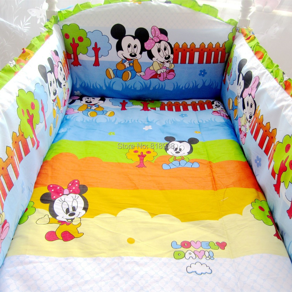 HOT 5 Pcs/sets 100% cotton baby bedding set curtain crib bumper +filler baby bed bumper optional size(China (Mainland))