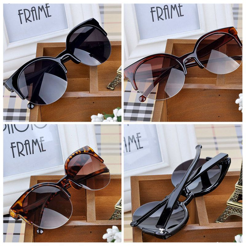 Summer Style Cat Eye Sunglasses Women Eyewear Semi-Rimless Sunglasses Super Round Circle Cat Eye Sunglasses PMPJ093*65(China (Mainland))