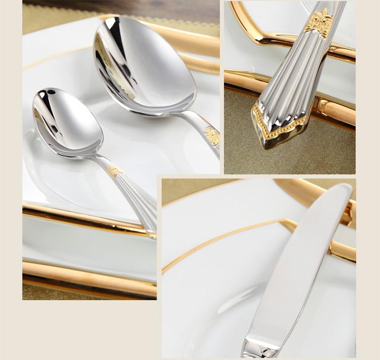 Buy Gold Cutlery Set Luxury Flatware Sets Stainless Steel Table Knife Fork Spoon 24pcs Dining Set Dinner Sets Western Dinnerware Set cheap