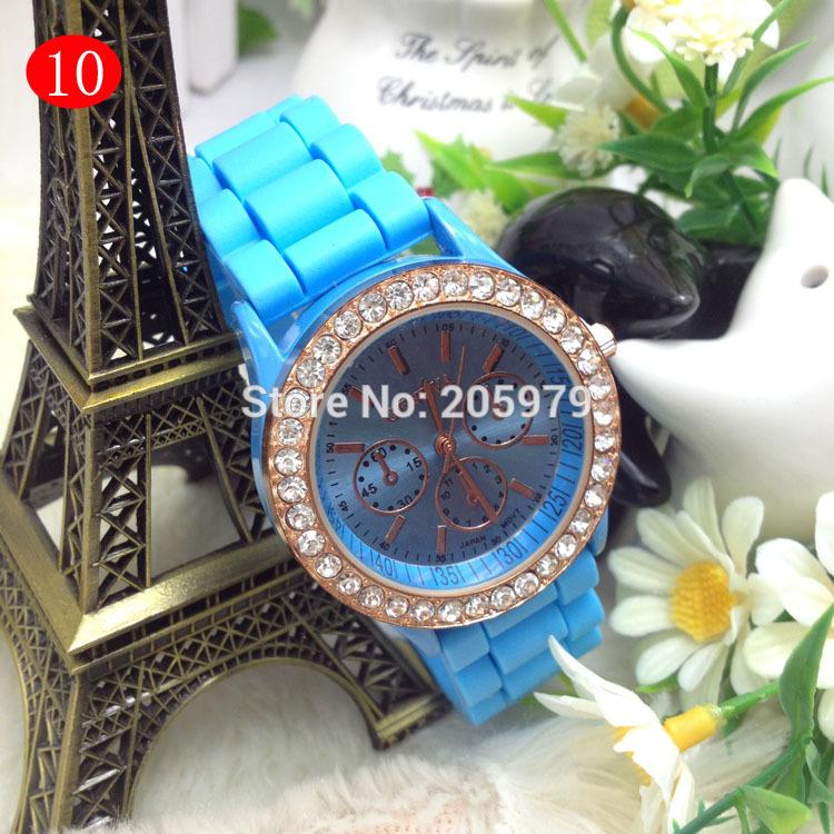 Silicone watch Crystal Stone Quartz Ladies/Women/Girl Jelly Wrist Watch Candy Colorful automatic watch geneva watch women(China (Mainland))