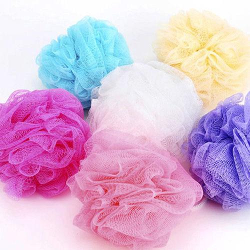 Mesh Net Wash Bath Ball Body Exfoliate Puff Sponge Scrub Lily Shower 7 Colors(China (Mainland))