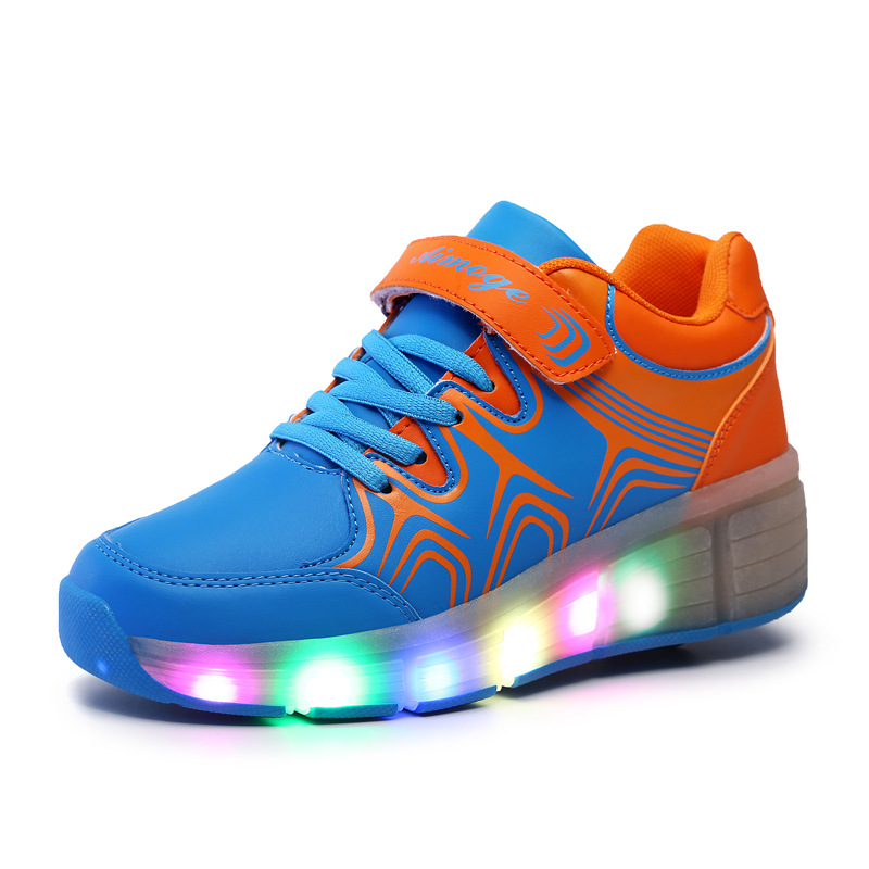 Children Shoes With Light Running Sneakers For Boys Wheels Heely Kids Roller Shoes Light Up