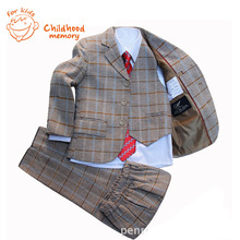Boys Wedding Suits Dress Small Plaid Khaki Jacket Boy Blazer Formal Children Clothes Costume De Mariage Pour Enfant Garcon(China (Mainland))
