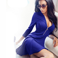 2016 Summer Autumn Fashion Women Dress Solid Pleated V neck Sexy Ladies Dresses Evening Party Bodycon