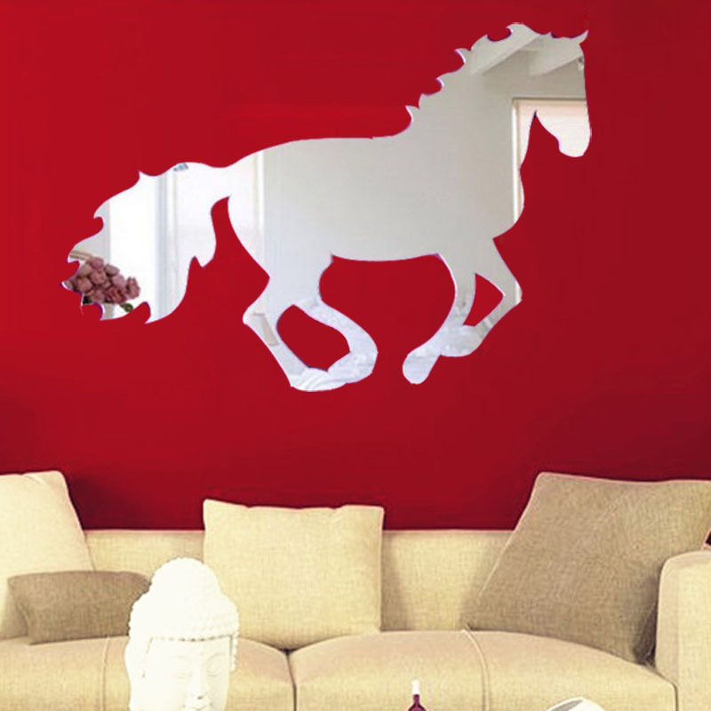 2015 Warm Home Decoration & Galloping Horse Sticker DIY Mirror Wall Clock Wall Sticker Home Decoratione adesivos de parede Smile