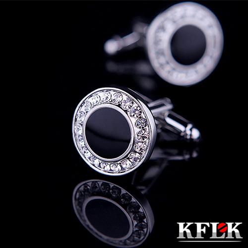 KFLK Jewelry Brand Black cuff button de manchette Crystal cuff link High Quality abotoadura shirt cufflink for men Free Shipping(China (Mainland))