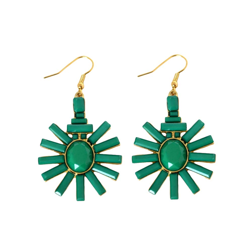 Simple Style Green Acrylic Flower Drop Earrings For Women Gold Plated Dangle Earings Fashion Jewelry Accessories Aretes De Mujer(China (Mainland))