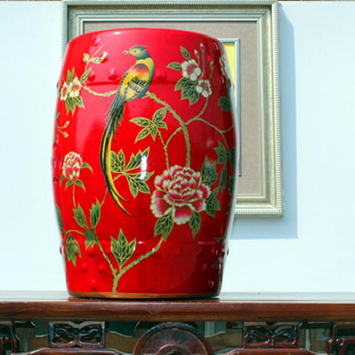 China Painting Bird Ceramic Painting Drum Porcelain Garden