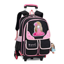 3 Wheels Children School bags trolley backpack carton pattern rolling luggage kids detachable and orthopedic bag(China (Mainland))