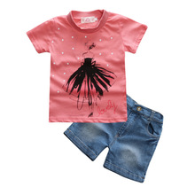 Buy Kids Tales 2017 Summer NEW Baby Girls Clothes Set Print T shirt + Denim Shorts 2 Pcs Set Casual Kids Suit Childrens Clothes for $8.60 in AliExpress store