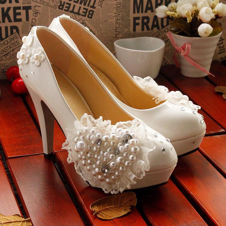 2016 New Handmadet Bridal Shoes Wedding Shoes White Pearl Heart Flower Wedding Shoes Bridesmaid