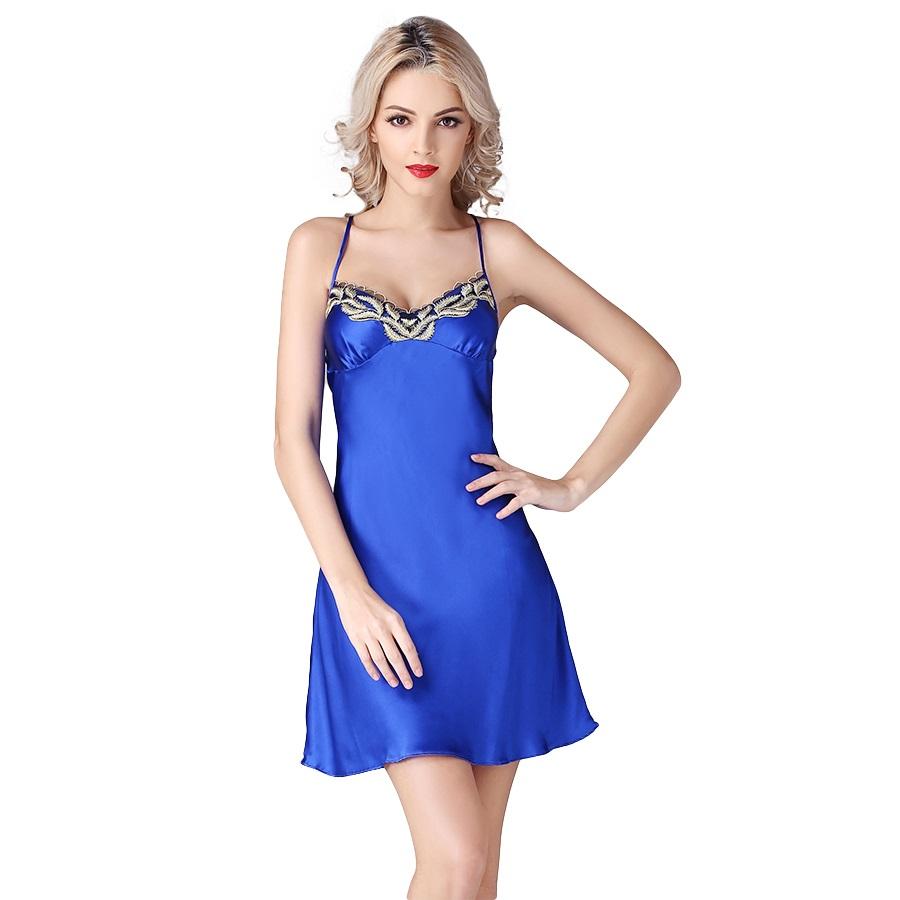 2016 New Arrival 100% Silk Satin Women Nightgown Sexy Nightie Nightdress Chemises Slip Sleepwear Ladies Nightwear Sleepshirts(China (Mainland))