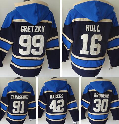 St. louis blues hockey hoody, hoodies #16 brett hull #42 david backes #30 martin brodeur #91 vladimir tarasenko #99 gretzky(China (Mainland))