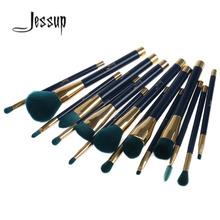 Jessup 15Pcs Professional Make up Brushes Set Foundation Blusher Powder Eyeshadow Blending Eyebrow Makeup Brushes Blue/Darkgreen(China (Mainland))