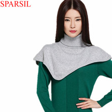 Sparsil Women Winter&Autumn Turtleneck Cashmere Blend Pullover Knitted Cape Ring Scarves Solid Color Warm All-Match Bufandas C89(China (Mainland))