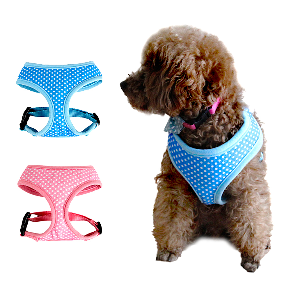 New Pet Product Fashion Polka Dot Design Dog Harness Puppy Comfortable Blue / Pink Color S M Size