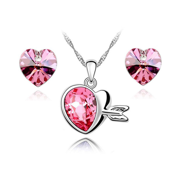 Korean Jewerly Austria Crystal Heart Love Shape Jewelry Sets Pendants Necklace Swa Element - Jinghong store