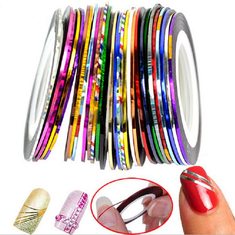 Nail Art Using Striping Tape: 30pcs Colorful Rolls Striping Tape Line Nail Stickers DIY