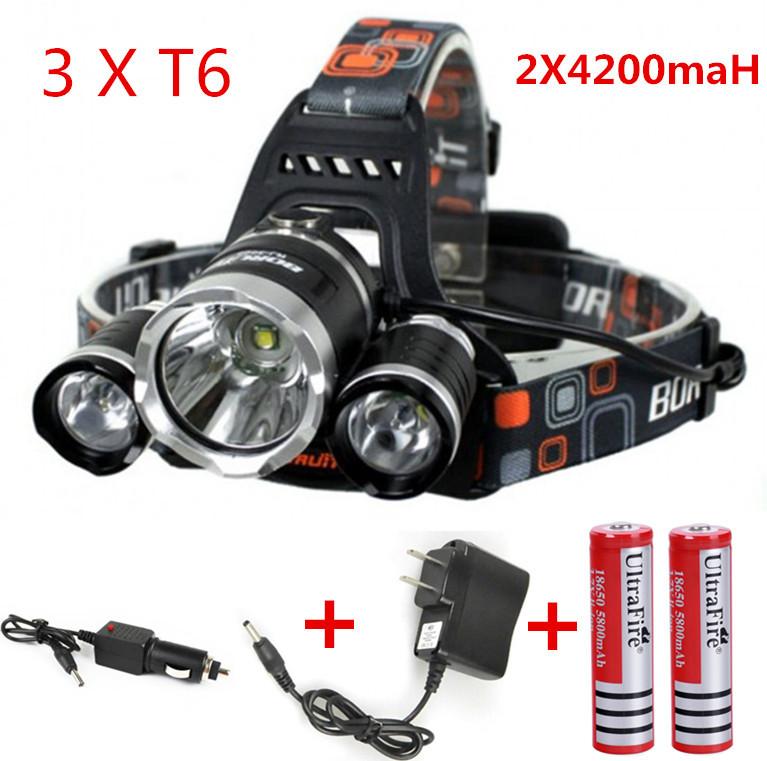 3x CREE XML U2 LED 6000 Lm Headlight Headlamp Head Lamp Light Flashlight 18650+2*battery+AC/Car charger(China (Mainland))