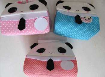 3PCS Cartoon PANDA + RABBIT ; Plush Cover Tissue BOX Towel Napkin Paper Pumping BOX Holder Case BOX; -- Novelty GIFT
