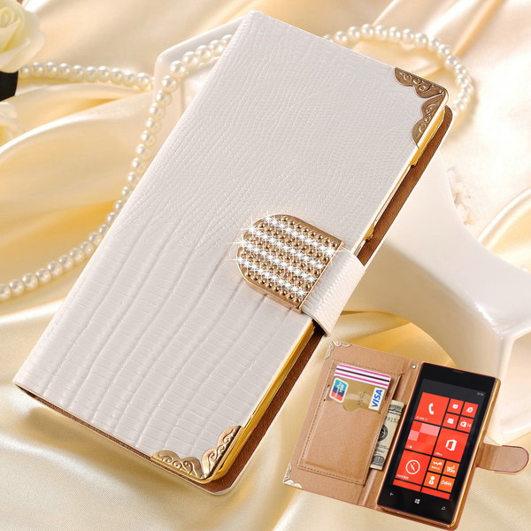 Wallet Flip Leather Case for Nokia Lumia 520 Bling Rhinestone Phone Case for Microsoft Lumia 520 Gold Back Cover with Card Slot(China (Mainland))