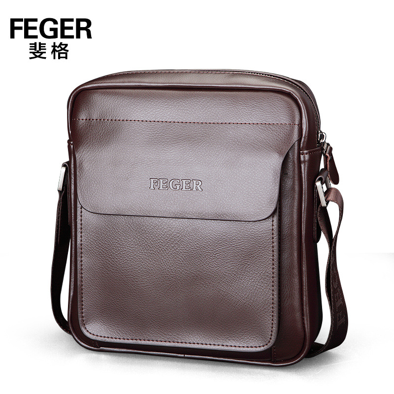 FEGER Business Men's Briefcase Large Capacity Document Bag Single Shoulder Messenger Bag Leather Men Bag 2 Size(China (Mainland))
