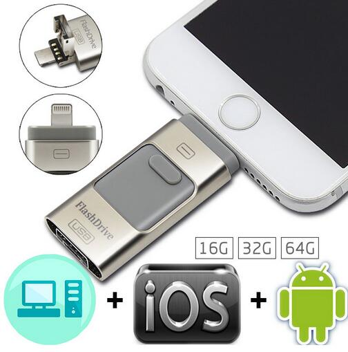 New Usb Flash Drive For iphone 7 6s 6 Plus 5 5S ipad Pendrive OTG 8/16/32/64gb Pen drive HD external storage memory stick Gifts!(China (Mainland))
