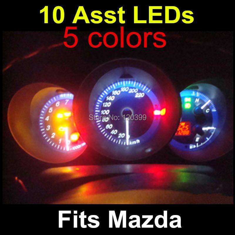 10 unids Car Dashboard Led Light Gauge Instrument Cluster indicador ligero Auto bombilla zócalo del coche fuente de luz Led para Mazda 3(China (Mainland))