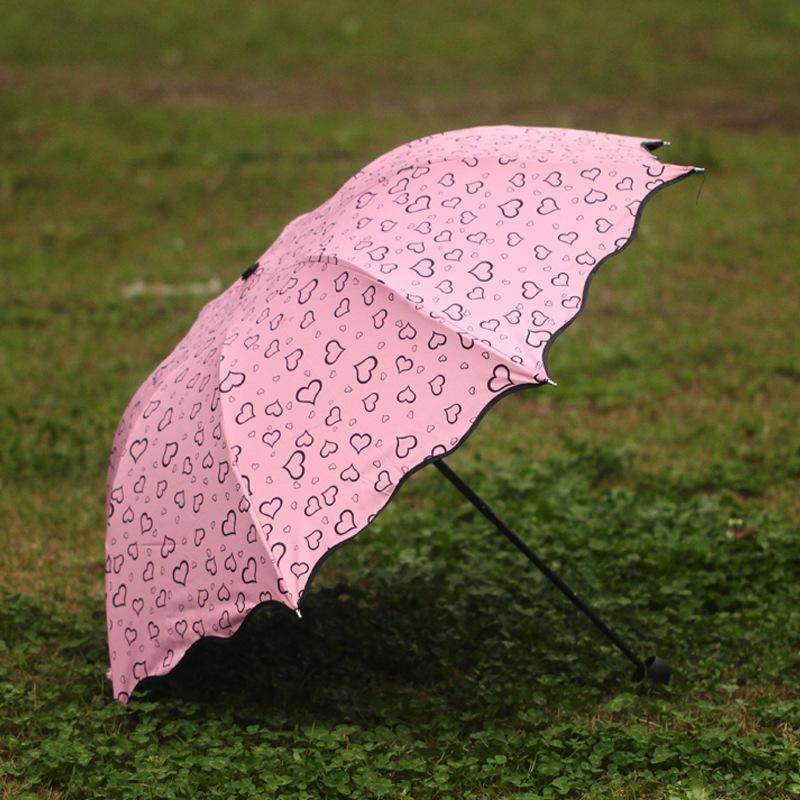 2016 Hot Sweet love pattern sunny umbrella fashion sun umbrella travel out dual purpose folding umbrella(China (Mainland))