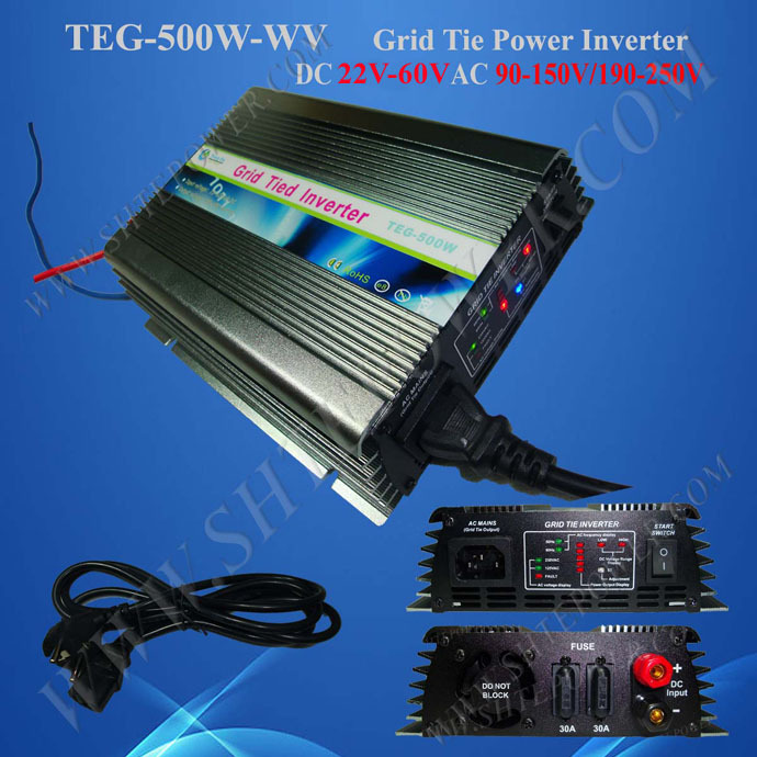 500W Solar Micro Grid Tie Inverter DC 22~60V to AC 100V/110V/120V On Grid Inverter for Solar Panel(China (Mainland))