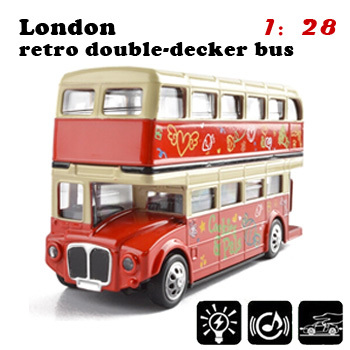 Red light up toys 1/32 scale models London retro duble-decker bus diecast models boy toys for children collectible model cars(China (Mainland))