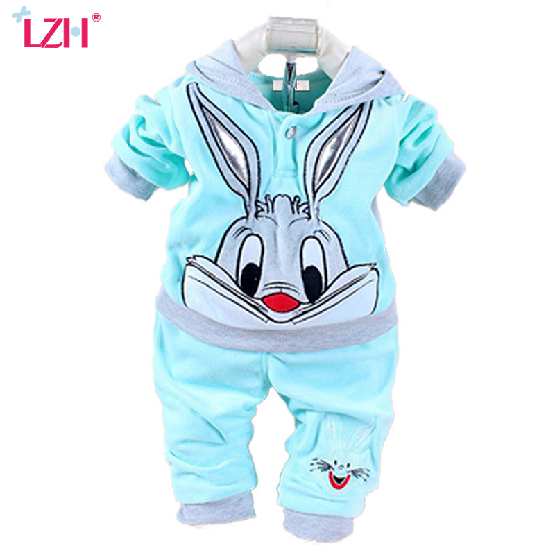 LZH Newborn Baby Girls Clothes Set 2017 Winter Baby Boys Clothes Rabbit Velvet Hoodie+Pant 2pcs Kids Outfit Suit Infant Clothing(China (Mainland))