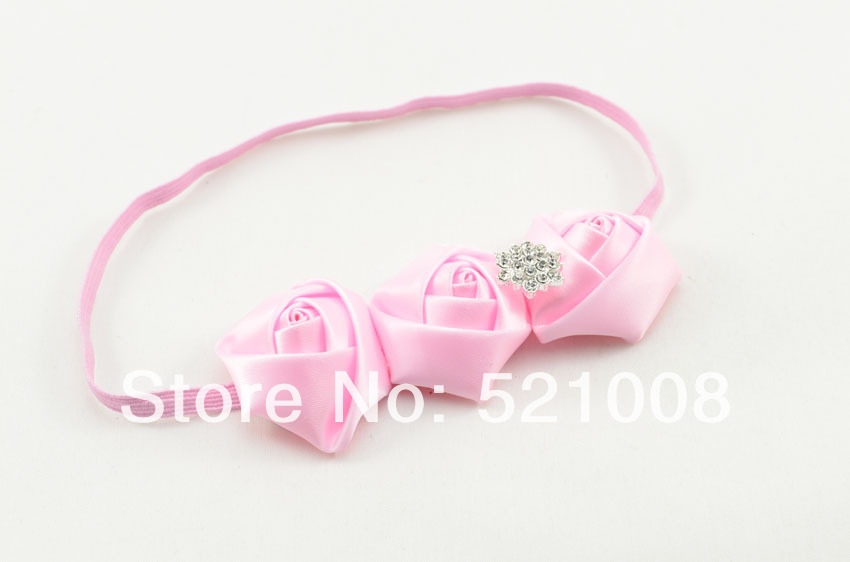 Wholesale Triple Satin Flower Headband Ribbon Fabric Flower Headband for Girls Infant Newborn Toddler Hair Accessories 144pcs(China (Mainland))