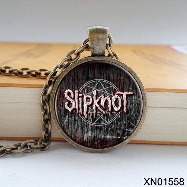 Free shipping Rock band Slipknot logo pendant zinc alloy glass retro necklace for rock fans good quality(China (Mainland))